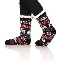 SDBING Women's Warm Cozy Fuzzy Fleece-lined Knee Highs Christmas gift Slipper socks (Black)