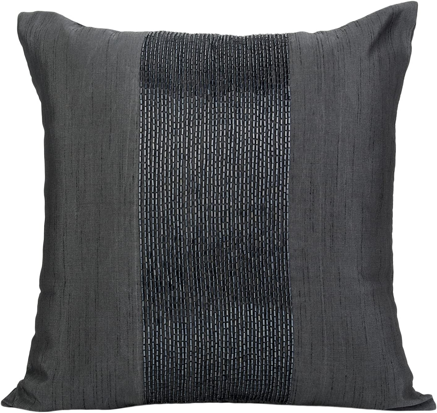 The White Petals Charcoal Grey Decorative Pillow Cover - Beaded Charcoal  Grey Throw Pillow Cover in Panel Embroidery - Accent Pillows for Couch &  Bed