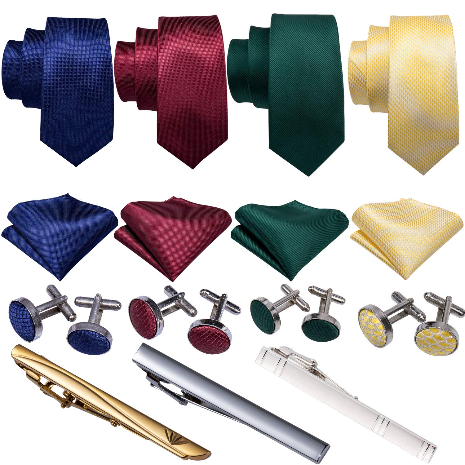 Barry.Wang Mens Luxury Tie Set Collection,Designer Necktie Clips Handkerchief Cufflink with Elegant Gift Box by Barry.Wang