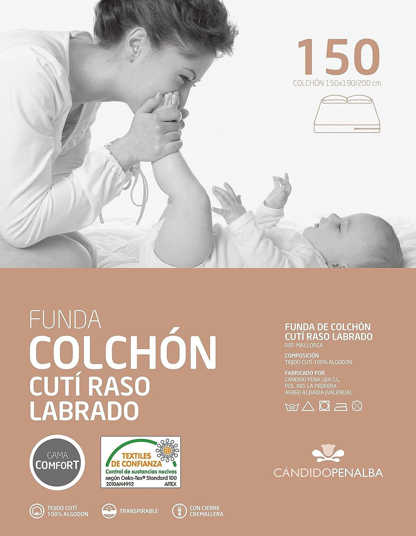 Cándido Penalba Mallorca - Funda de colchón cutí Raso labrado, 105 x 190/200 cm: Amazon.es: Hogar