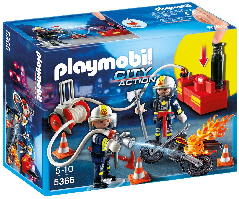 Playmobil Feuerwehrmänner mit Löschpumpe - Feuerwehrstation Playmobil
