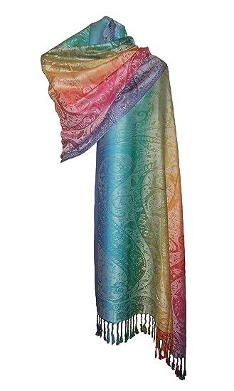 Etole écharpe Pashmina et Soie - Motifs Arabesque Cachemire Arc en Ciel  Multicolore (Ecru)  Amazon.fr  Vêtements et accessoires 3fc5c8e20be