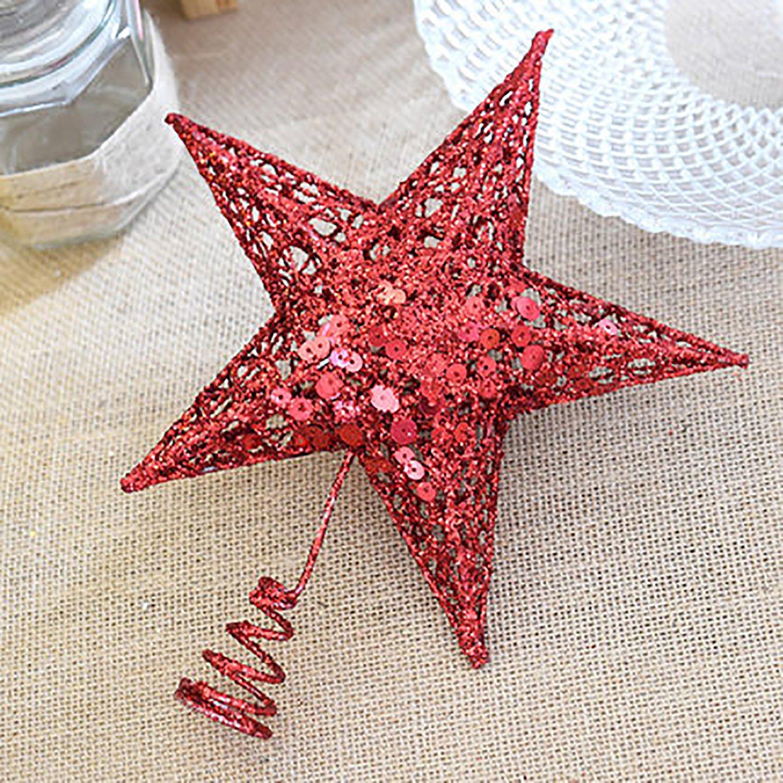 rescozy 6-Inch Gold Glitter Christmas Star Treetop