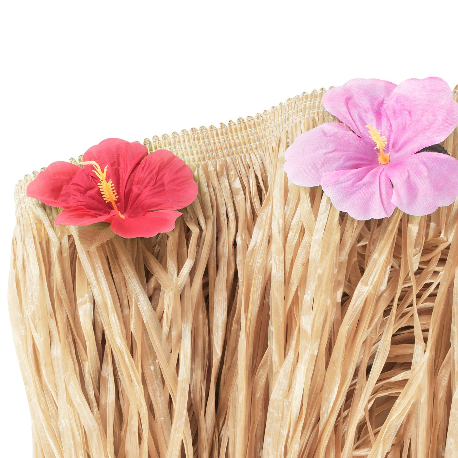 Hawaiian Luau Hibiscus Natural Color String & Colorful Sproilk Faux Flowers Table Hula Grass Skirt for Party Decoration, Events, Birthdays, Celebration (1 Pack) by Super Z Outlet (Image #3)