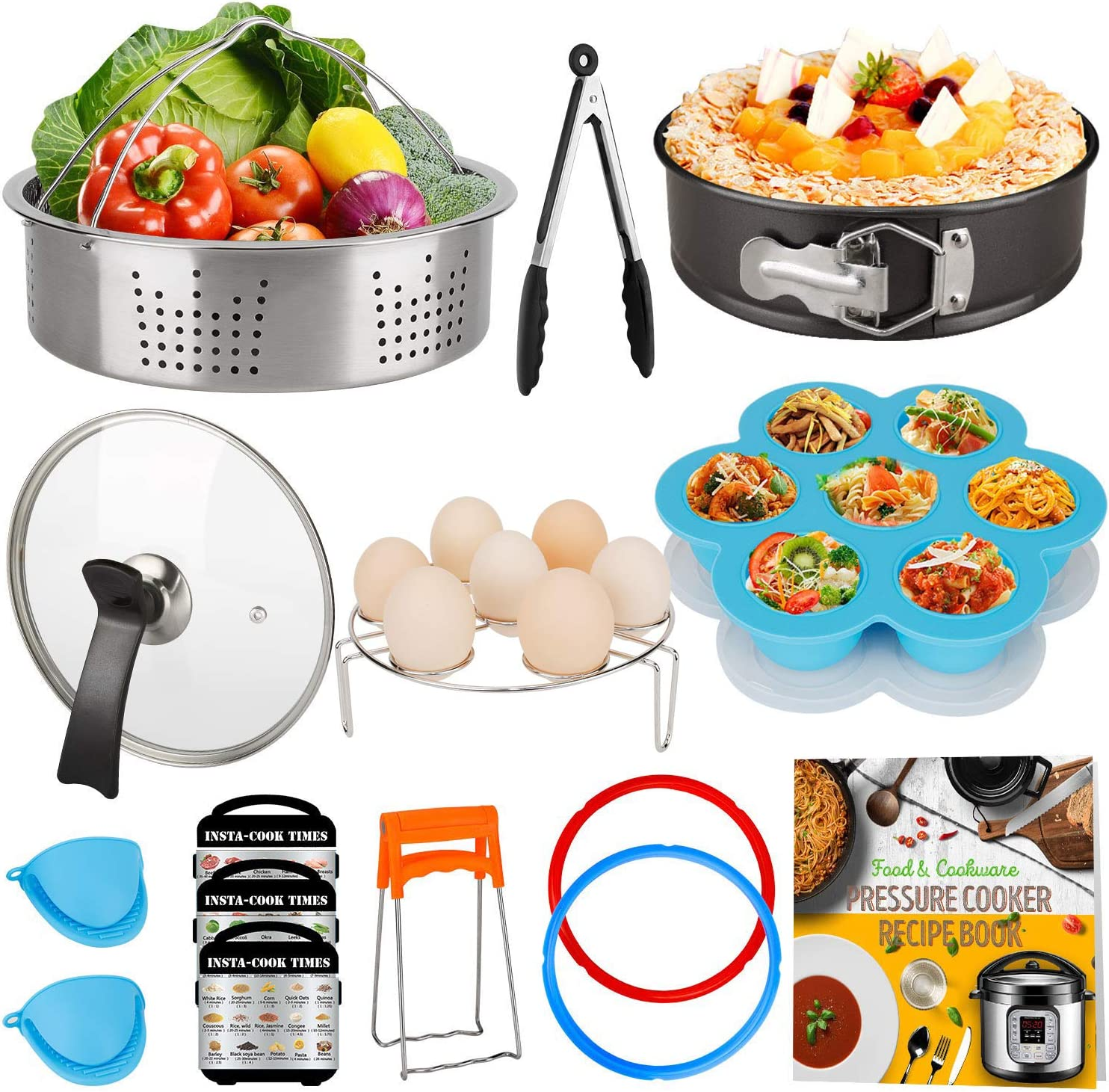 Cooking Accessories Set Compatible with Instant Pot 8 QT, 8 Quart Accessory Kit with Glass Lid Silicone Sealing Rings Steamer Basket Springform Pan Cookbook