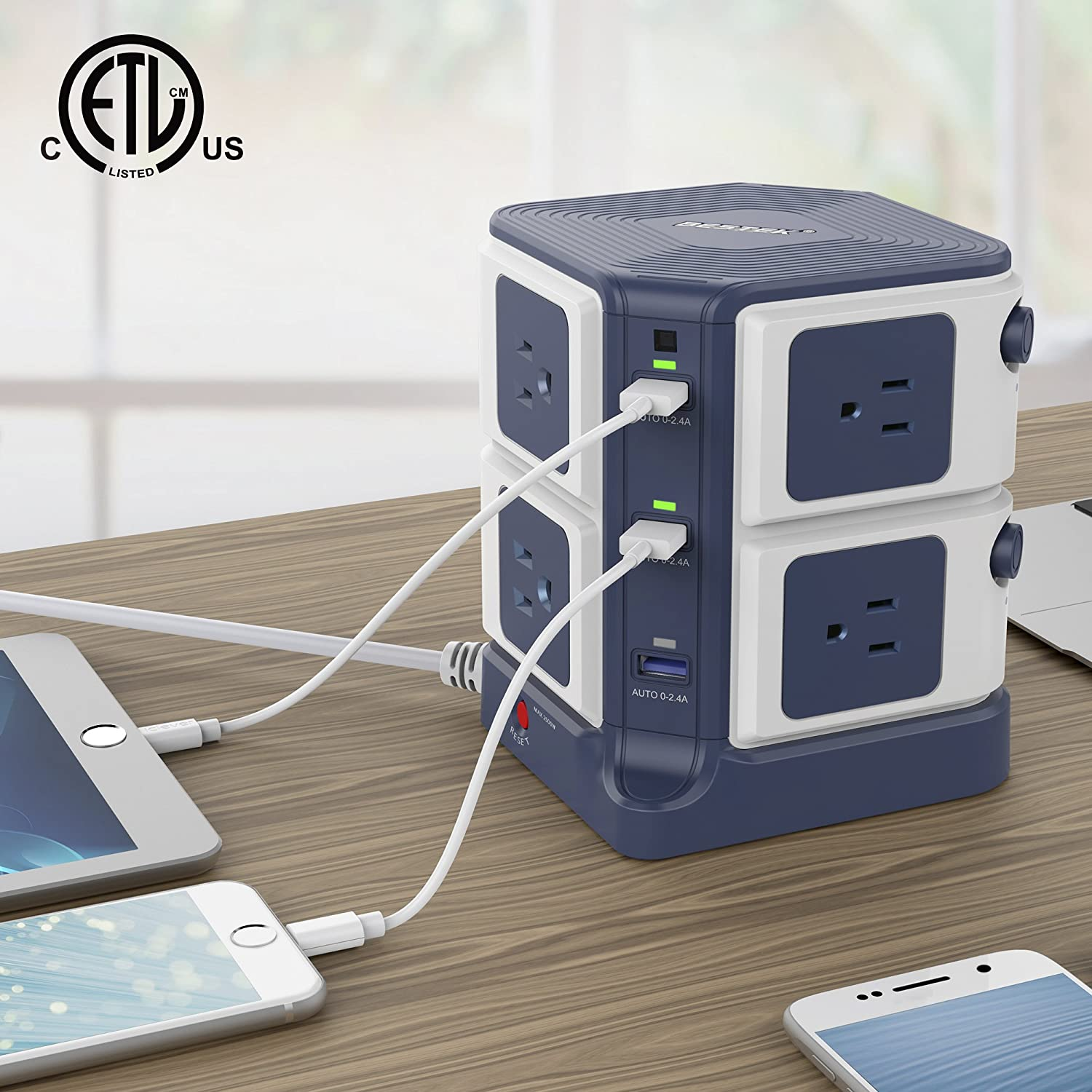 BESTEK Surge Protector 8-Outlet and 40W 6-Port Smart USB Power Strip with 1500 Joules Surge Protection,ETL Listed,Dorm Room Accessories MRJ8008