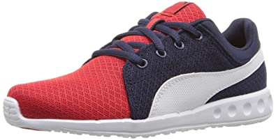 PUMA Kids' Carson Runner 400 Mesh PS Sneaker, High Risk Red White, 11