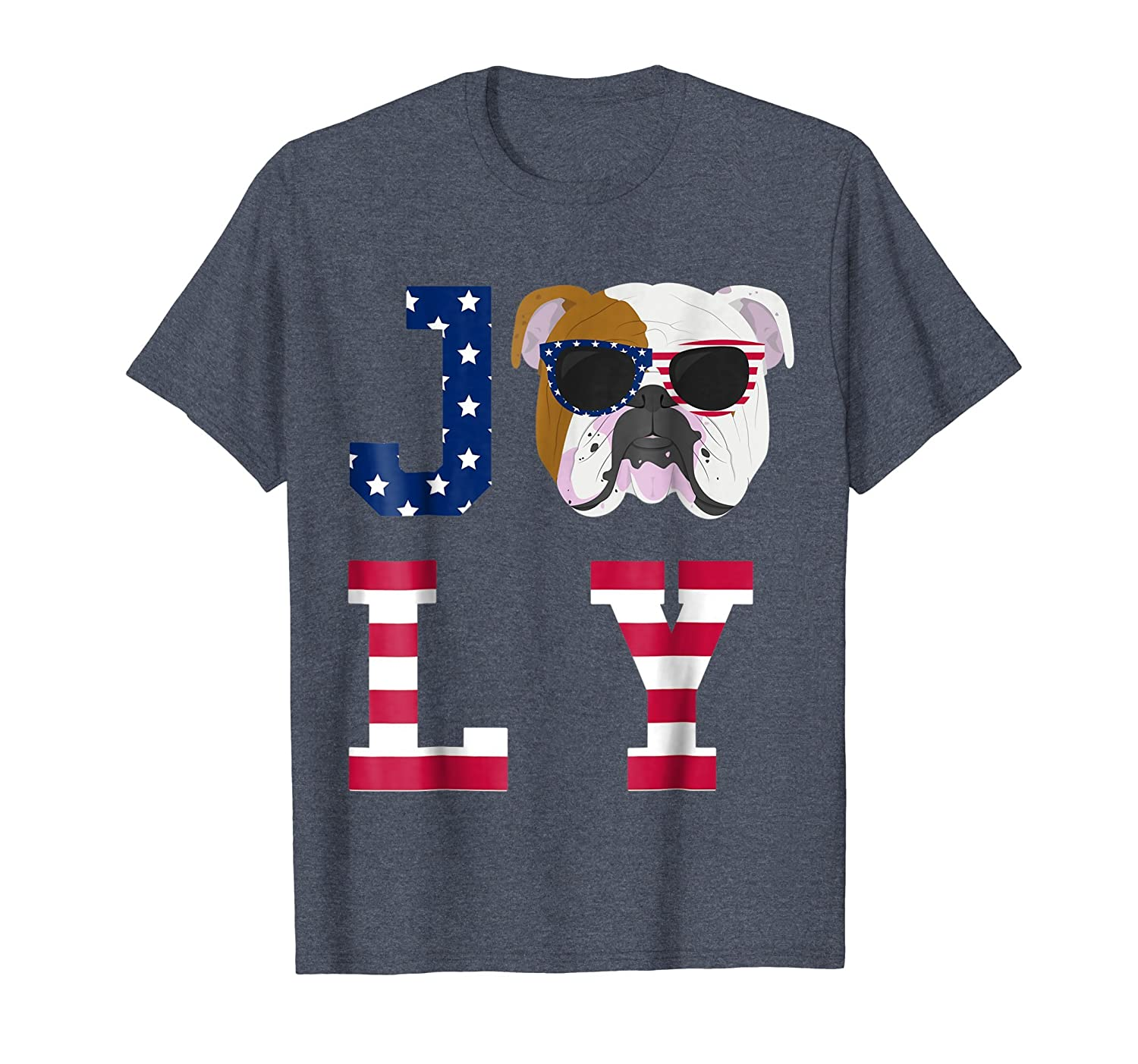 4th of July - Bulldog American Flag Dog T-Shirt-AZP