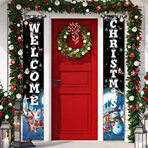 Outdoor Christmas Decorations - Merry Christmas banner sign,Hanging Christmas Door Decorations for Home Outdoor Front Door Wall Party - Black Christmas Decor Flags Large Size