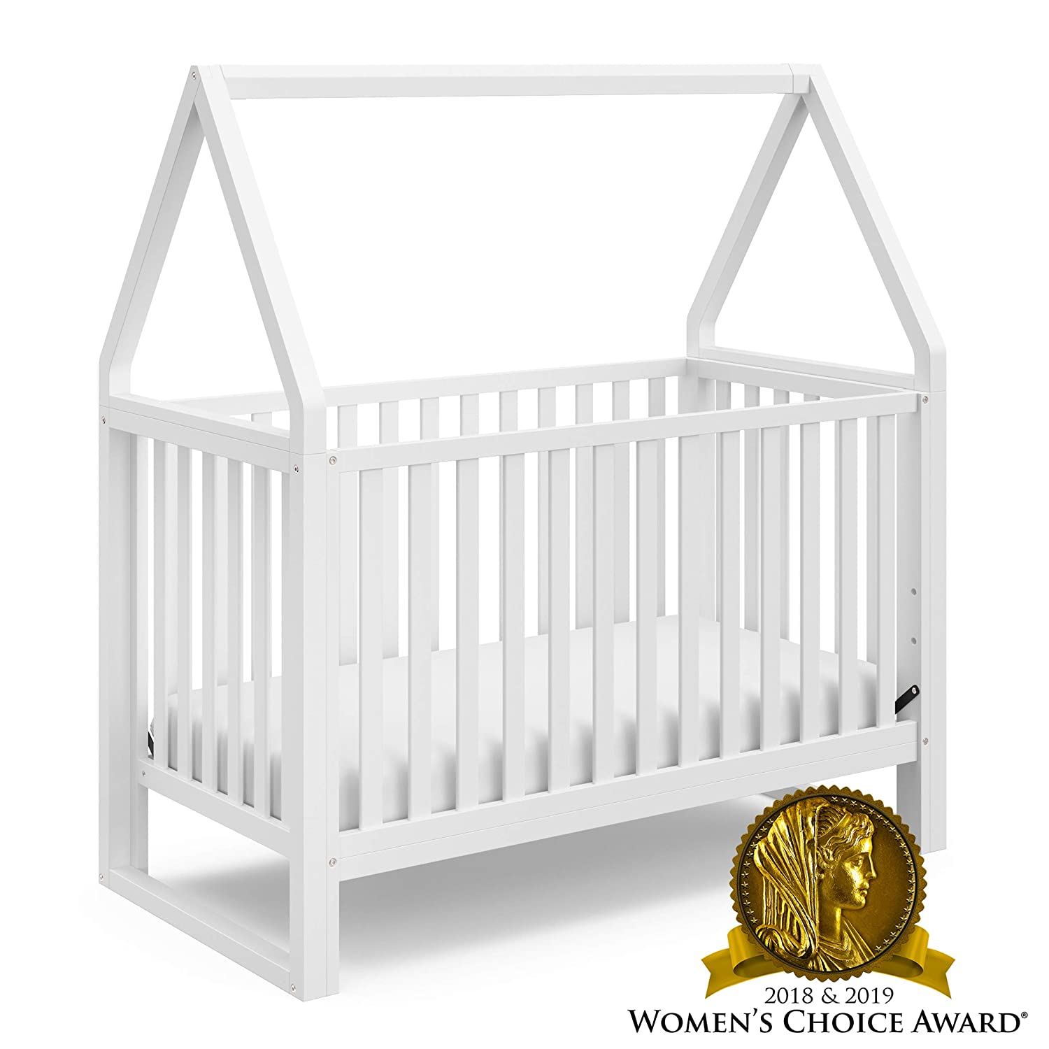 Storkcraft Orchard 5-in-1 Convertible Crib White – Easily Converts to Toddler Bed, Daybed, Full-Size Bed, and Playhouse, Detachable Canopy, 3-Position Adjustable Mattress Support Base