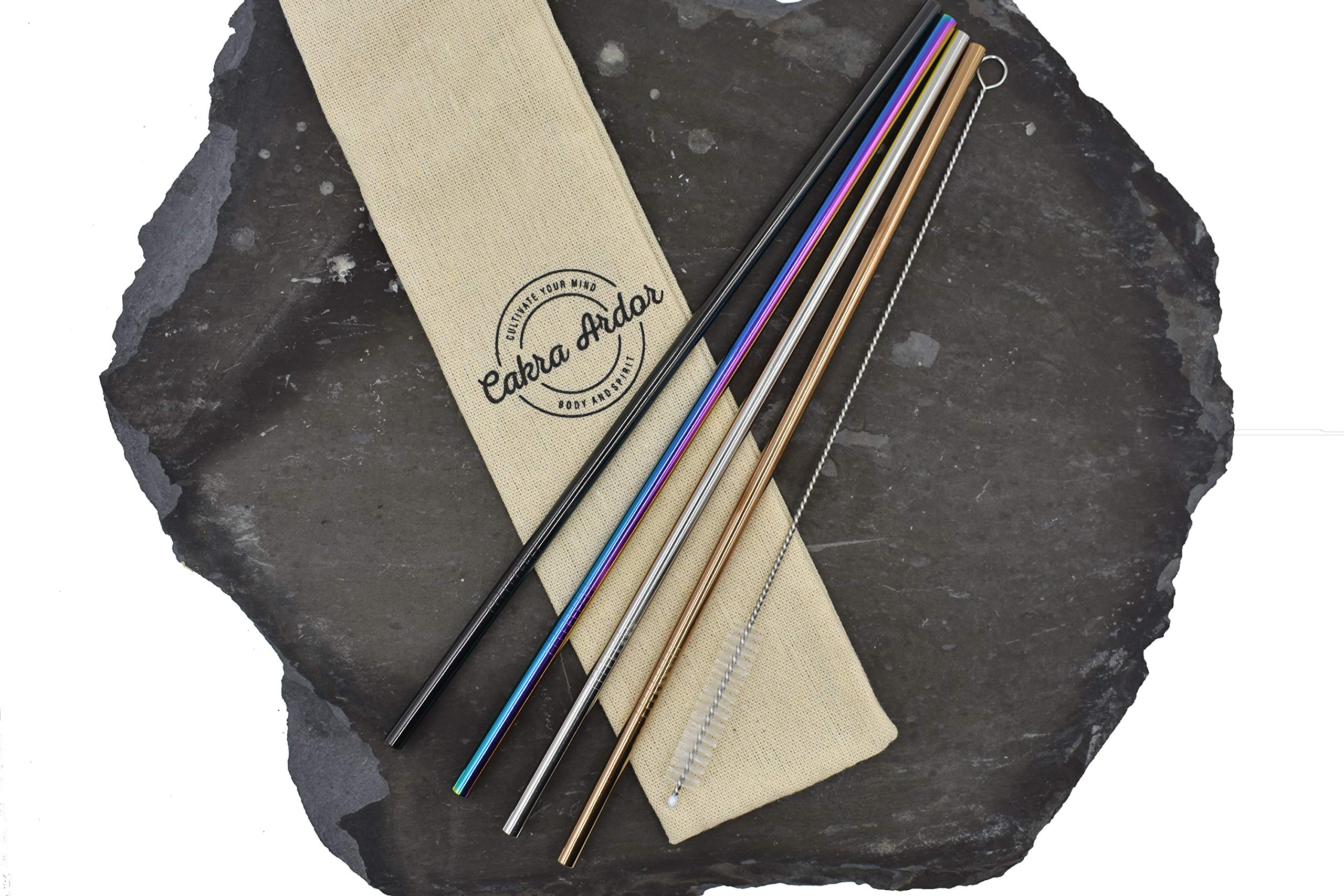 Environmentally Friendly Reusable Colored Stainless Steel Drinking Straw Set for 20oz Tumblers/Cups