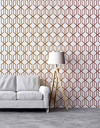 Buy Modern Geometric Shape 3d Hexagon Bronze Lines Peel And Stick Wallpaper Removable Wall Mural 6213 9ft H X 4ft W Modern Bronze Pattern Online At Low Prices In India Amazon In