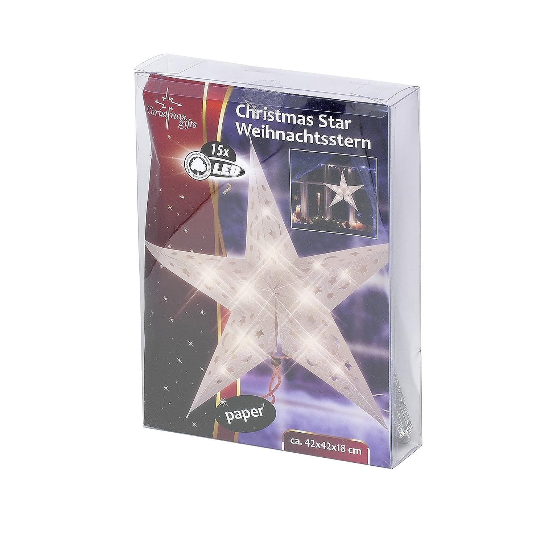 Christmas Gifts 01792 Stella di Natale con Lustrini, 15 LED, Colore: Bianco, 42 x 42 x 18 cm