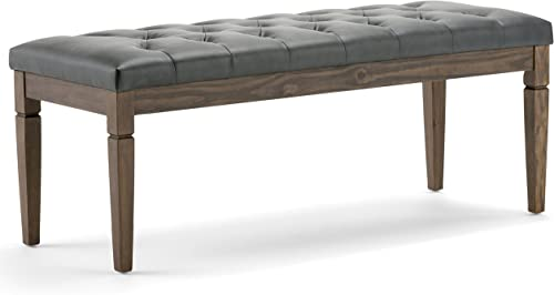 SIMPLIHOME Waverly 48 inch Wide Rectangle Ottoman Bench Slate Grey Tufted Footrest Stool