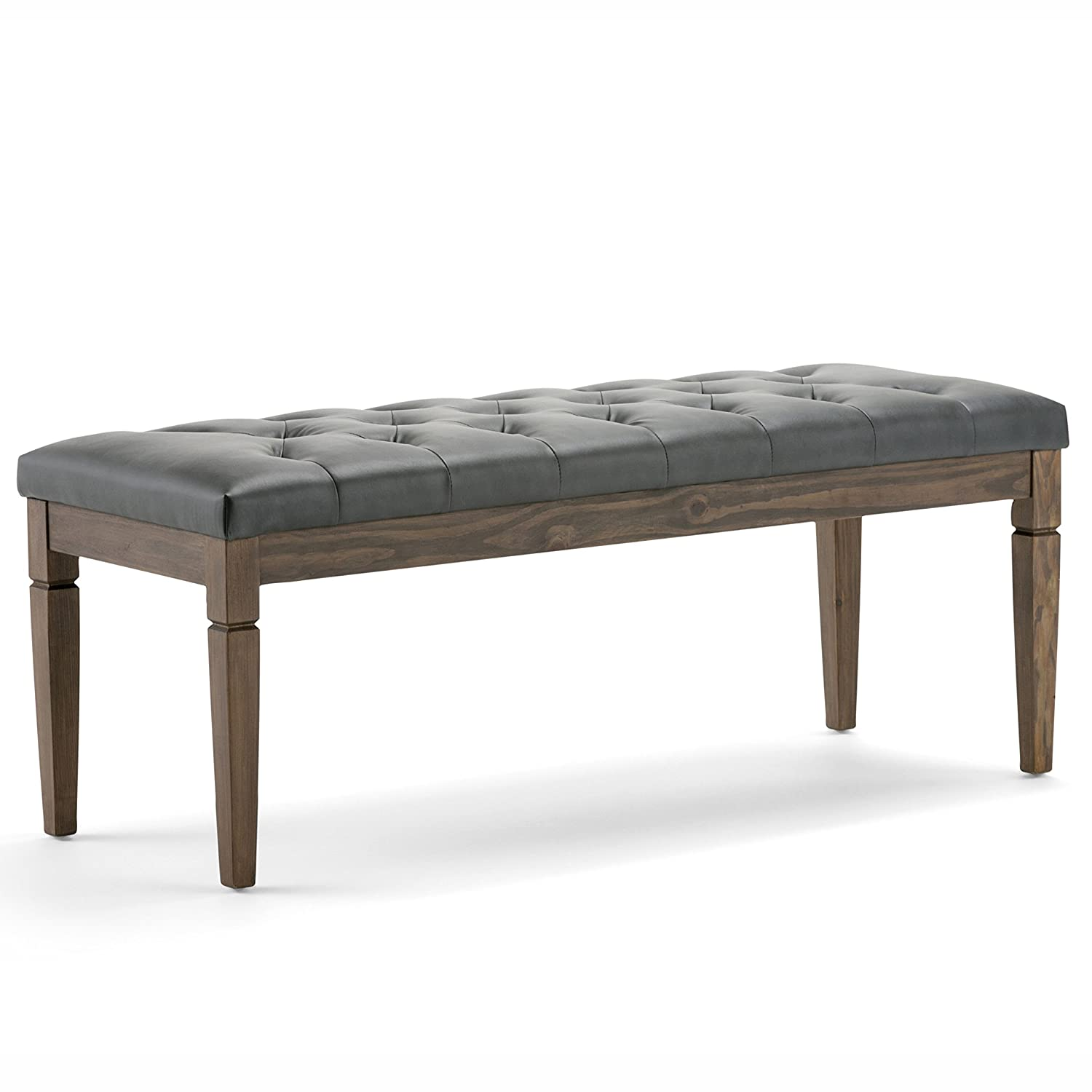 Simpli Home Waverly Tufted Ottoman Bench, Slate Grey