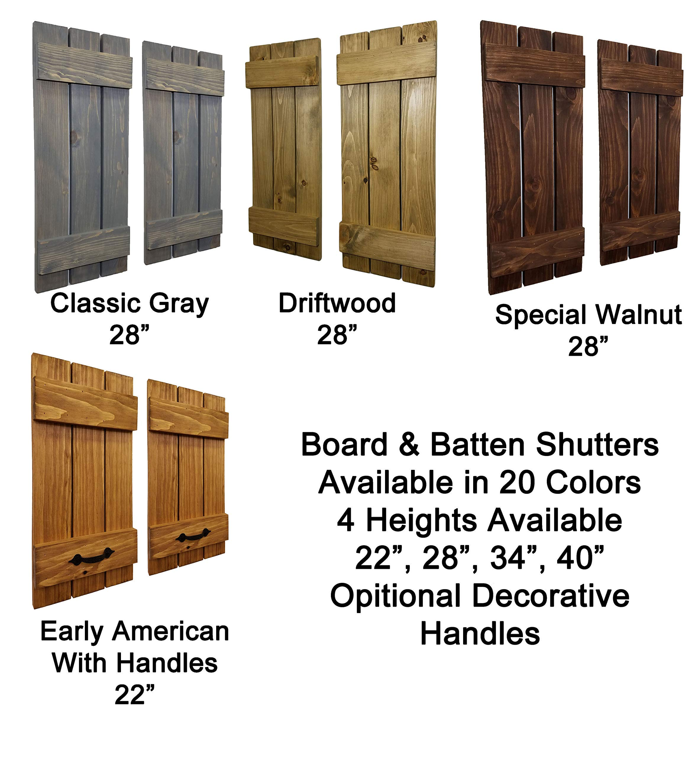 Countryside Rustic Pair of Decorative Board and Batten Shutters Available in 20 Colors - Choose from 4 sizes 40'', 34'', 28'', 22'' Inches - Rustic Wall Home Decor - Farmhouse - Shabby Chic by Renewed Decor & Storage