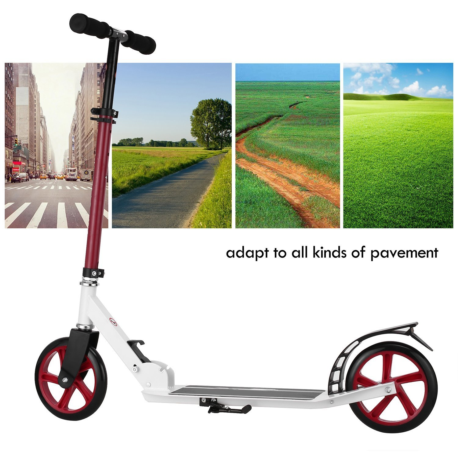 Foldable Adult/Teen A3 kick scooter, Lightweight Aluminium Scooter with Disc Brake and 2 Large Wheels 200mm-Hold To 220lbs(US Stock)