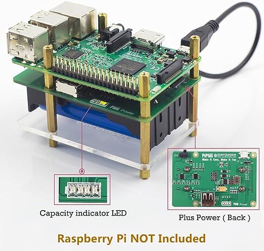 SunFounder Raspberry Pi 4000mAh 5V/2A batería de Litio batería de ...
