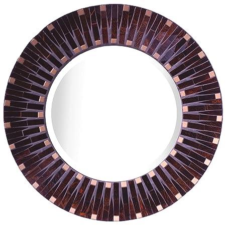 Lulu Decor, Amber Dot Mosaic Wall Mirror, Decorative Beautiful Round Wall Mirror with Beveled Mirror, Frame Measures 16 , Beveled Mirror Measures 9.5 LP82M