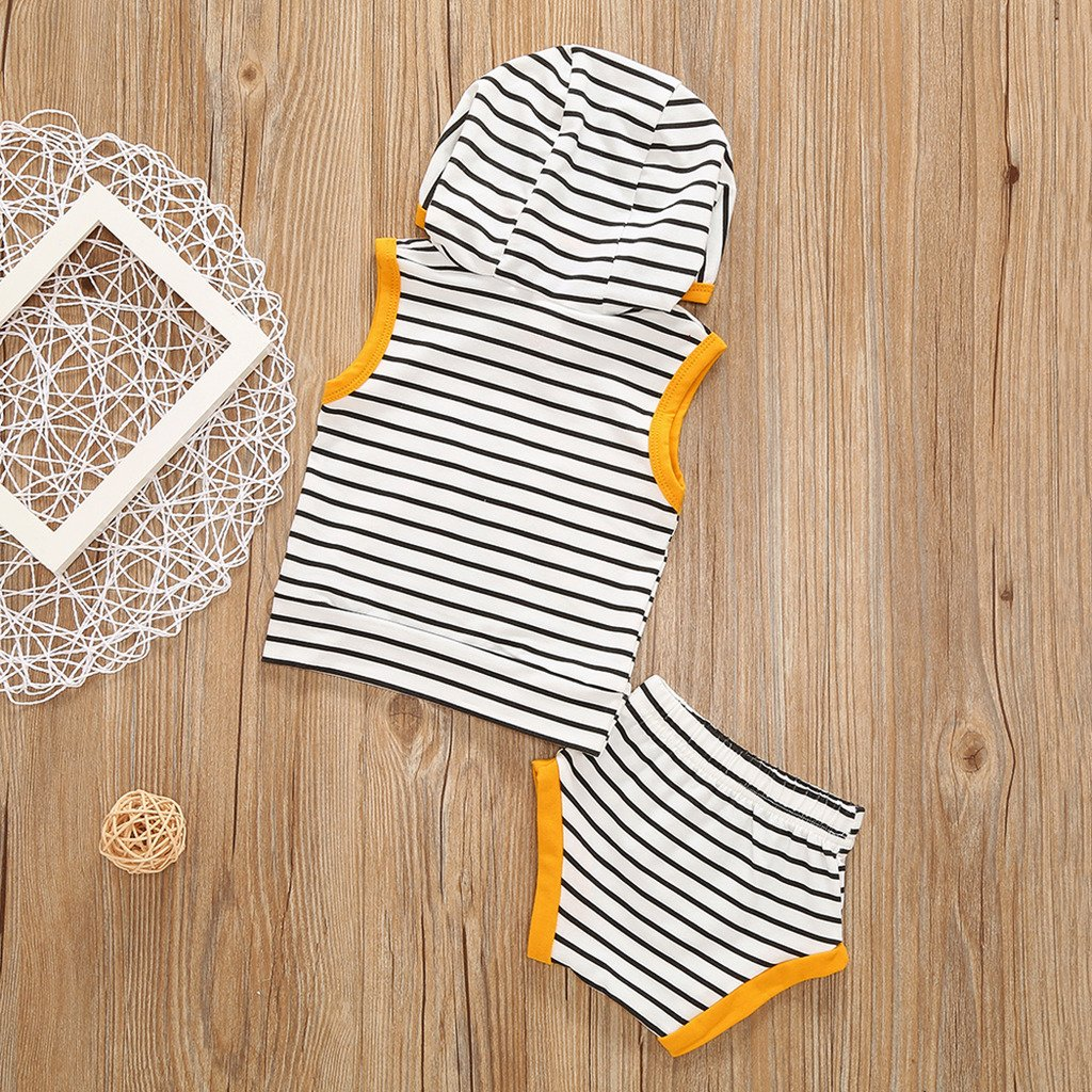 MIOIM Toddler 2pcs Summer Outfits Set Baby Boys Girls Summer Stripes Sleeveless Hoodie Tank Tops Matching Short Pants