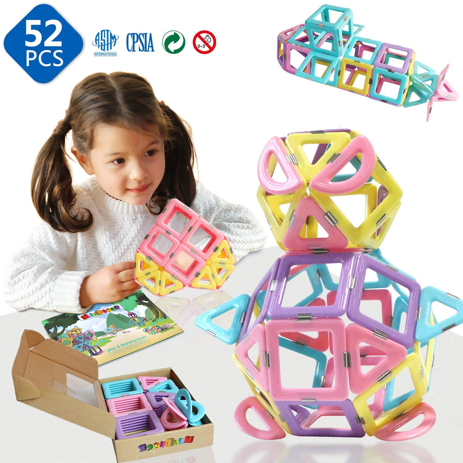 Magnetic Tiles - 3D Magnetic Toys 52 Pieces Set for Toddlers Boys Girls Gift Magnetic Building Blocks Tiles with Candy Color Toys by Magblock