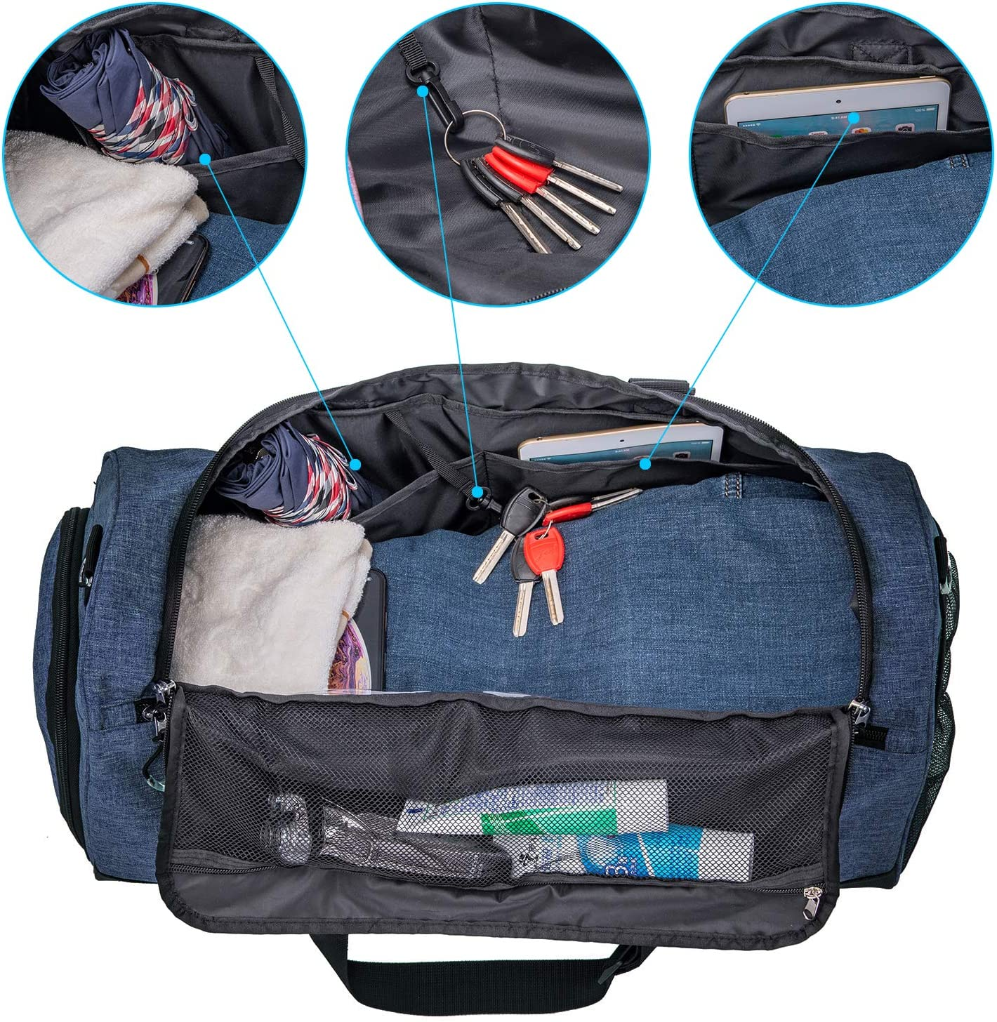 Kuston Sports Gym Bag with Shoes Compartment /&Wet Pocket Gym Duffel Bag Overnight Bag for Men and Women