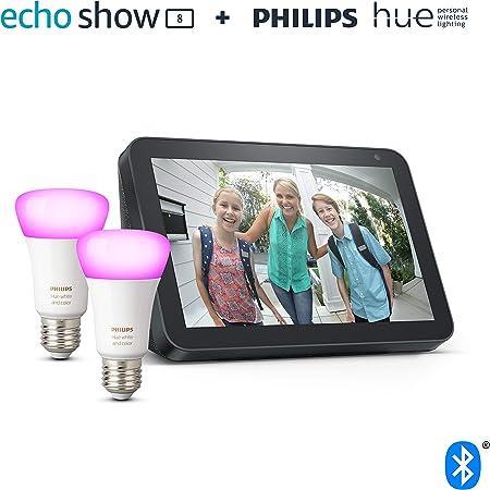 Echo Show 8, Tela de color antracita + Philips Hue White & Color Ambiance Pack de 2 bombillas LED...
