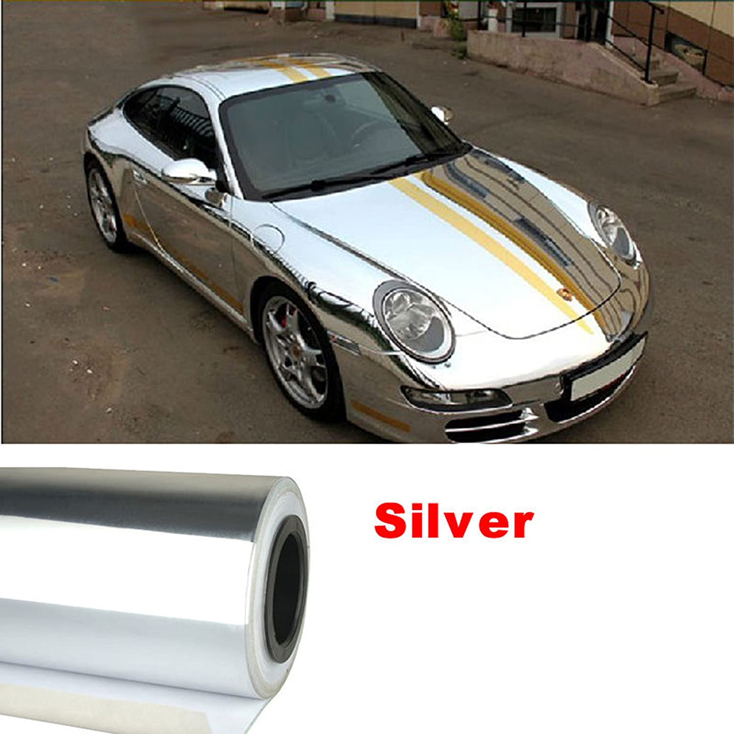 Car mirror sticker design - Amazon Com Nuoya001 New 12 X60 Silver Metallic Car Sticker Wrap Sheet Cover Mirror Chrome Film Decal Automotive