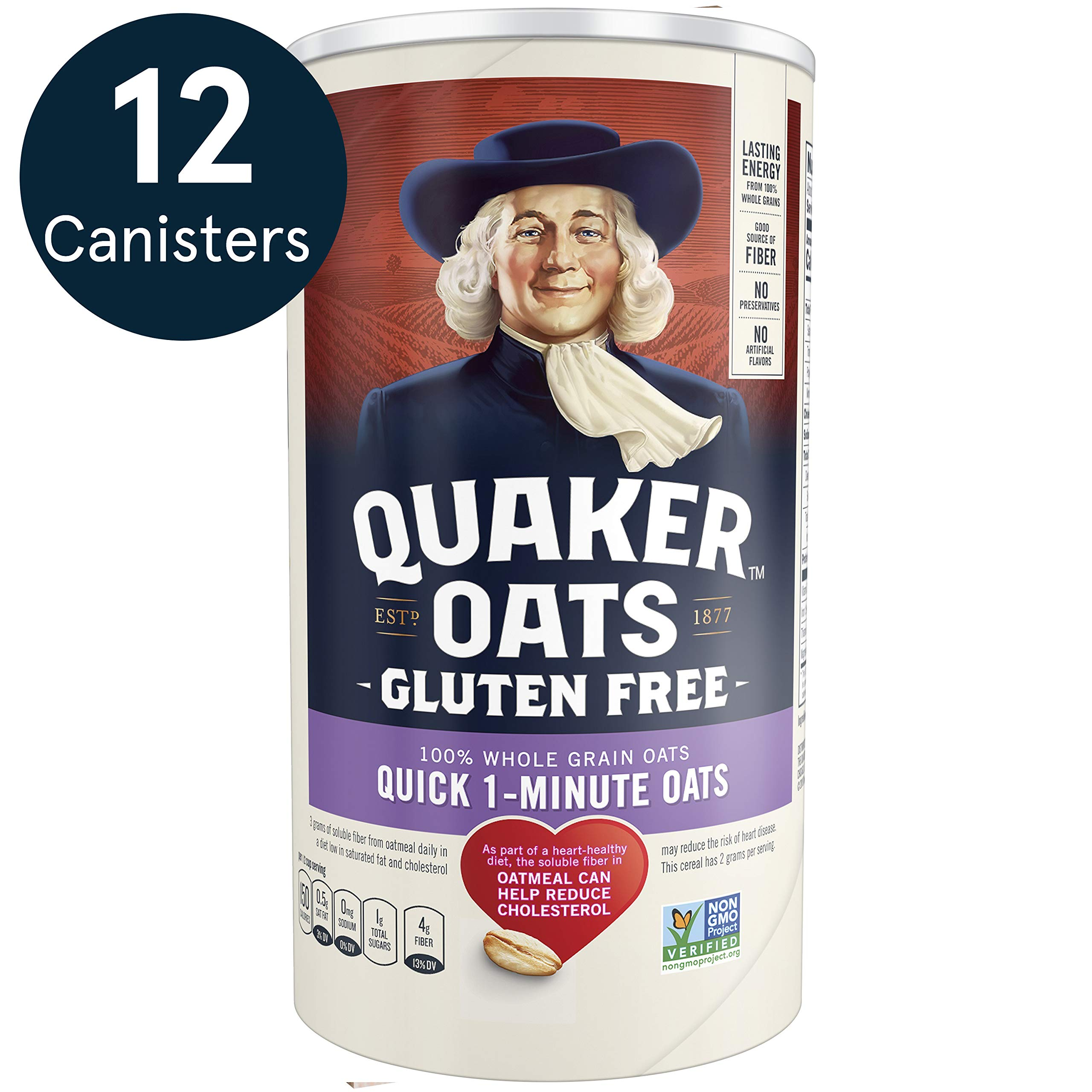 Quaker Gluten Free Quick 1-Minute Oats, Non GMO Project Verified, 18oz Canister, 12 Count by Quaker