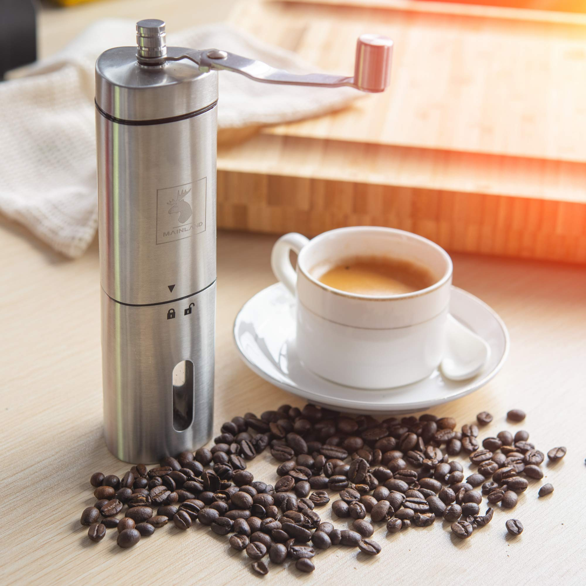 Manual Coffee Grinder by Mainland (Hand Held) Adjustable Fine, Medium, Coarse Grounds | Ceramic Burr Mill for Whole Bean Grinding | Home Kitchen, Office, Travel by Mainland (Image #6)