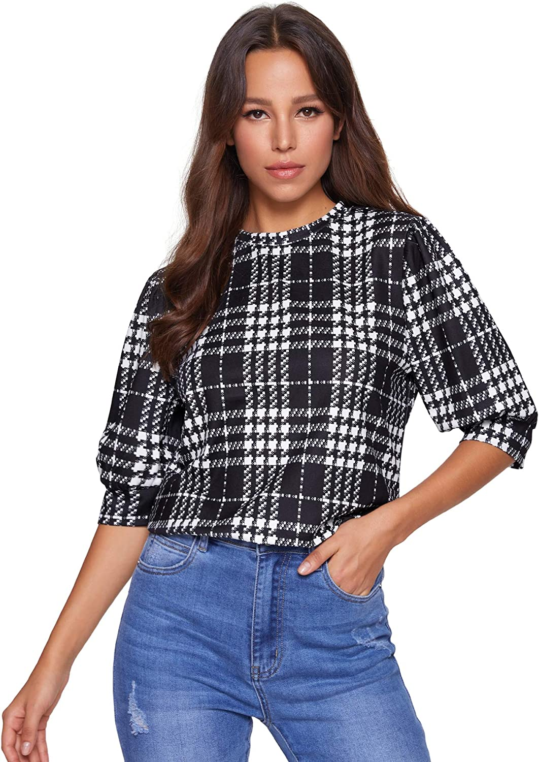 SheIn Women's Puff Sleeve Plaid Work Blouse High Neck Office Top