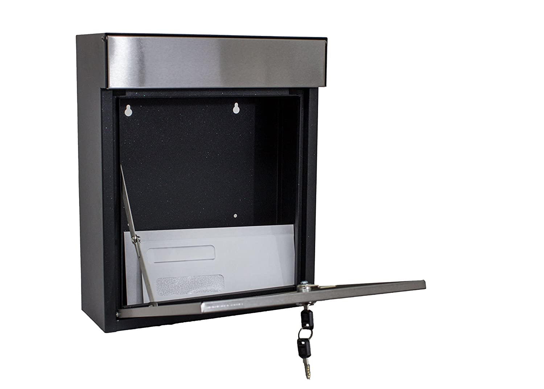Black//Silver Qualarc WF-P010 Woodlake Wall Mount Rectangular Galvanized and Stainless Steel Locking Mailbox