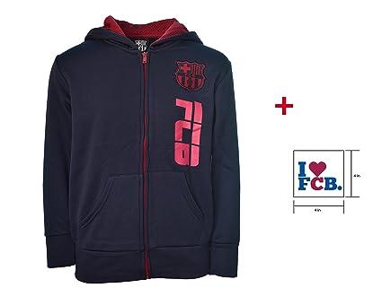 FC Barcelona con cremallera Sudadera con capucha azul marino chaqueta de lana juventud niños y licencia