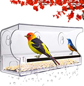 LUJII Window Bird Feeder with Strong Suction Cups and Slid Seed Tray, for Wild Birds, Anti-Shock Anti-Pressure Very Strong, Rounded Corners Very Safe. Drain Holes, 5 Suction Cups, Great Gift (Black)