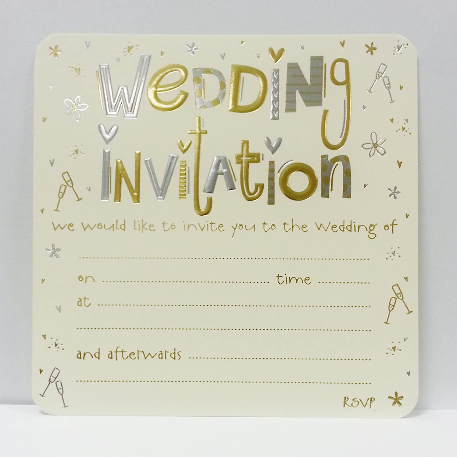 Amazon.com: SHOP AT 247 Pack of 10 Luxury Wedding Invitation Card Sheets:  Home & Kitchen
