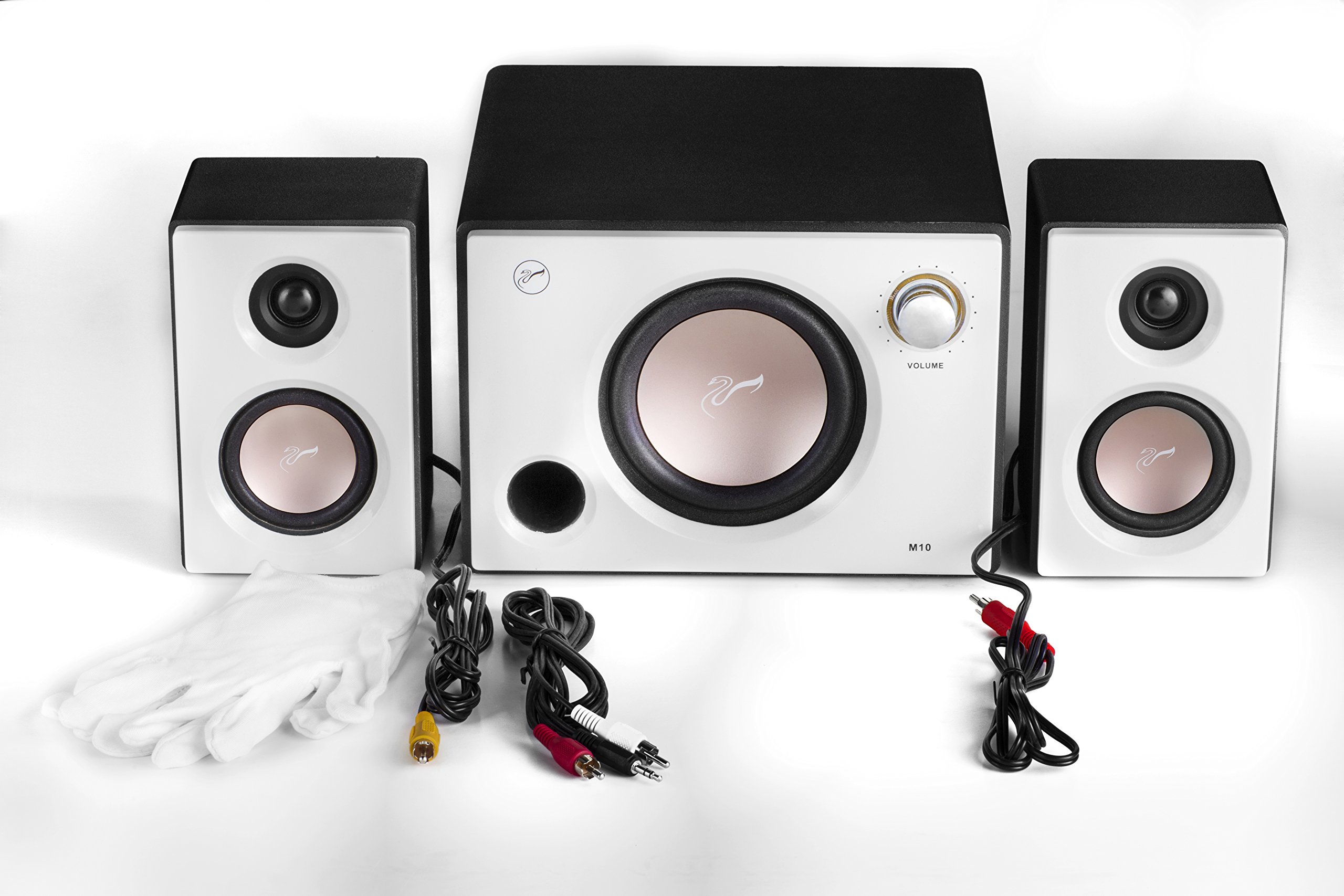 Swan Speakers - M10 - Powered 2.1 Computer Speakers - Surround Sound - Near-Field Speakers - Bookshelf Speakers - Pearl White by Swan Speakers (Image #1)