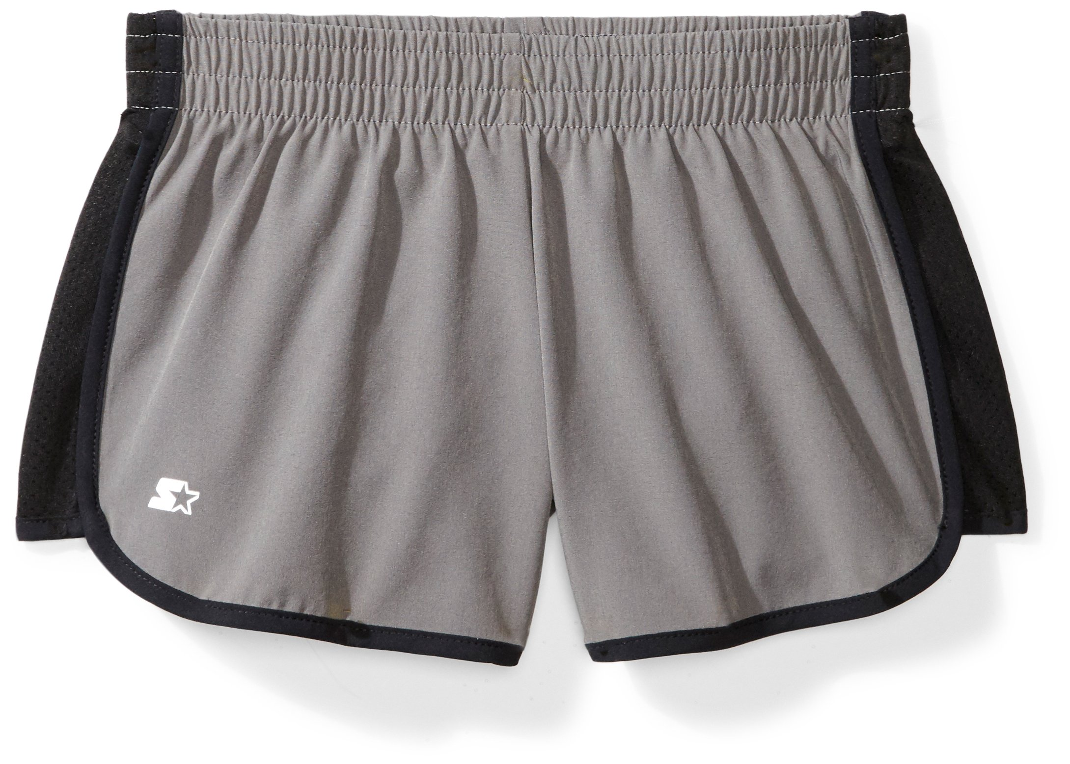 Starter Girls' 3'' Stretch Running Short, Amazon Exclusive, Iron Grey with Black, M (7/8) by Starter