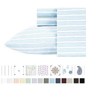 California Design Den 400-Thread-Count 100% Pure Cotton Sheets - 3 Piece Cape Stripe - Sky Blue Twin Size Printed Bed Sheet Set, Long Staple Cotton Sateen Weave, Deep Pocket Fits Mattress Upto 17''
