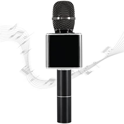 SHARPER IMAGE Bluetooth Music Stream Microphone, Pairs with iPhone/Android  Smartphone/Tablet, Charges W/Micro USB Cable, Built-in Speaker Plus Echo