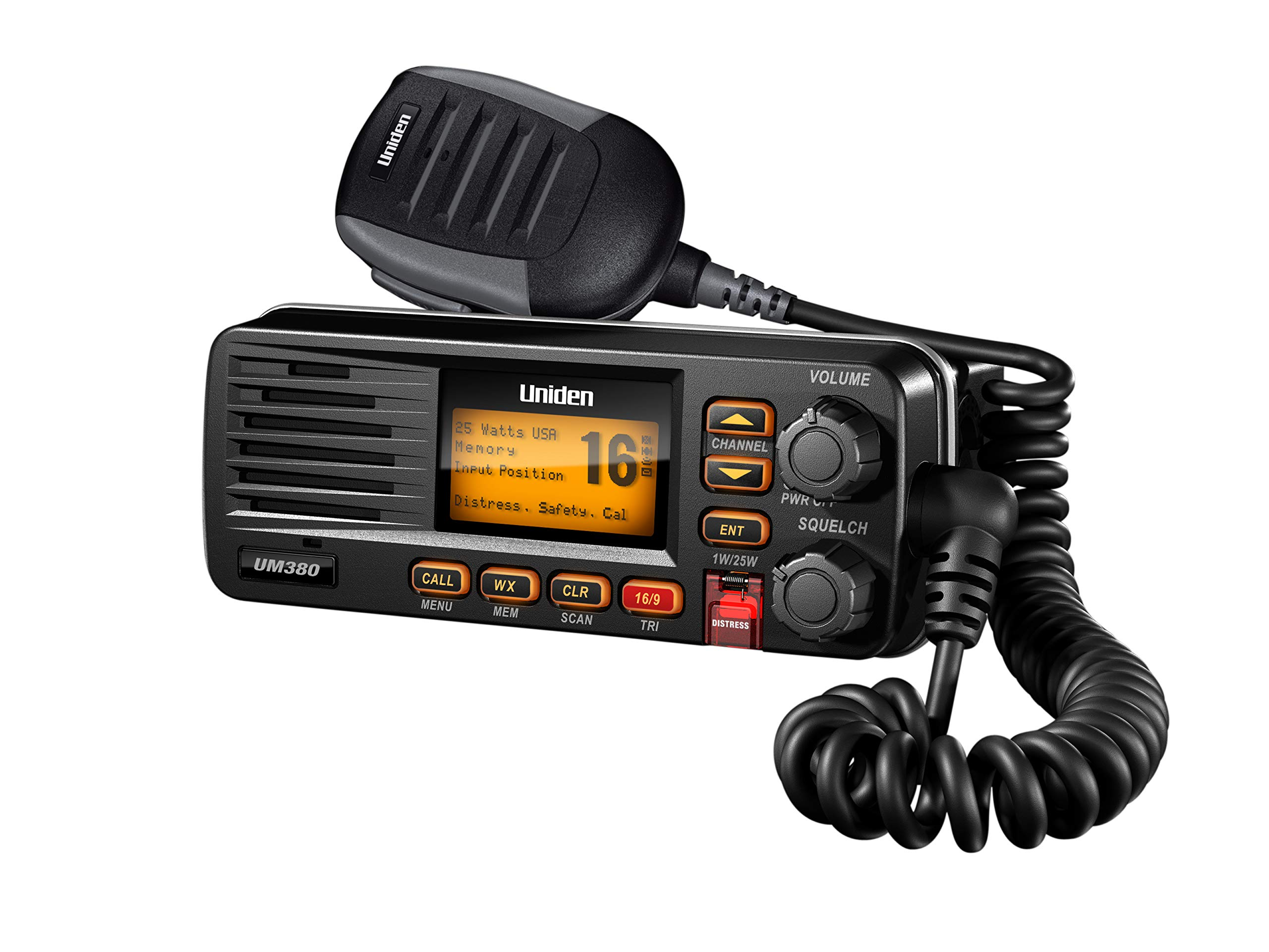 Uniden UM380 25 Watt Fixed Mount Marine VHF Radio, Class D, DSC, Waterproof Level IPX4/JIS4, S,A,M,E, Emergency/ NOAA Weather Alert, USA/International and Canadian Marine Channels, Color Black