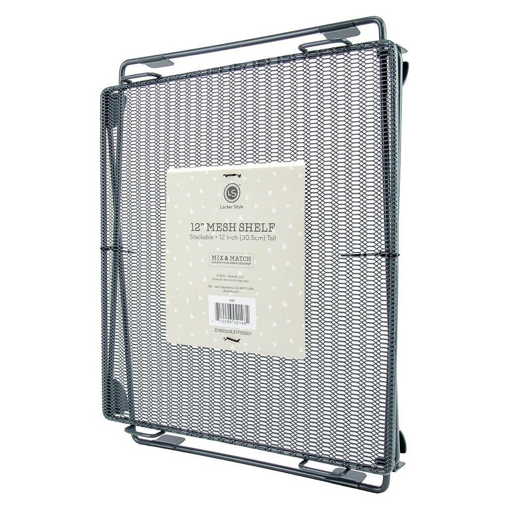 Locker Style 12 Mesh Shelf, Stackable (Grey)