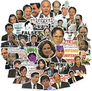 50 pcs The Office Stickers Pack, The Office Fan Gift, The Office TV Show Merchandise Stickers for Laptop Hydro Flasks Water Bottles Phone Case