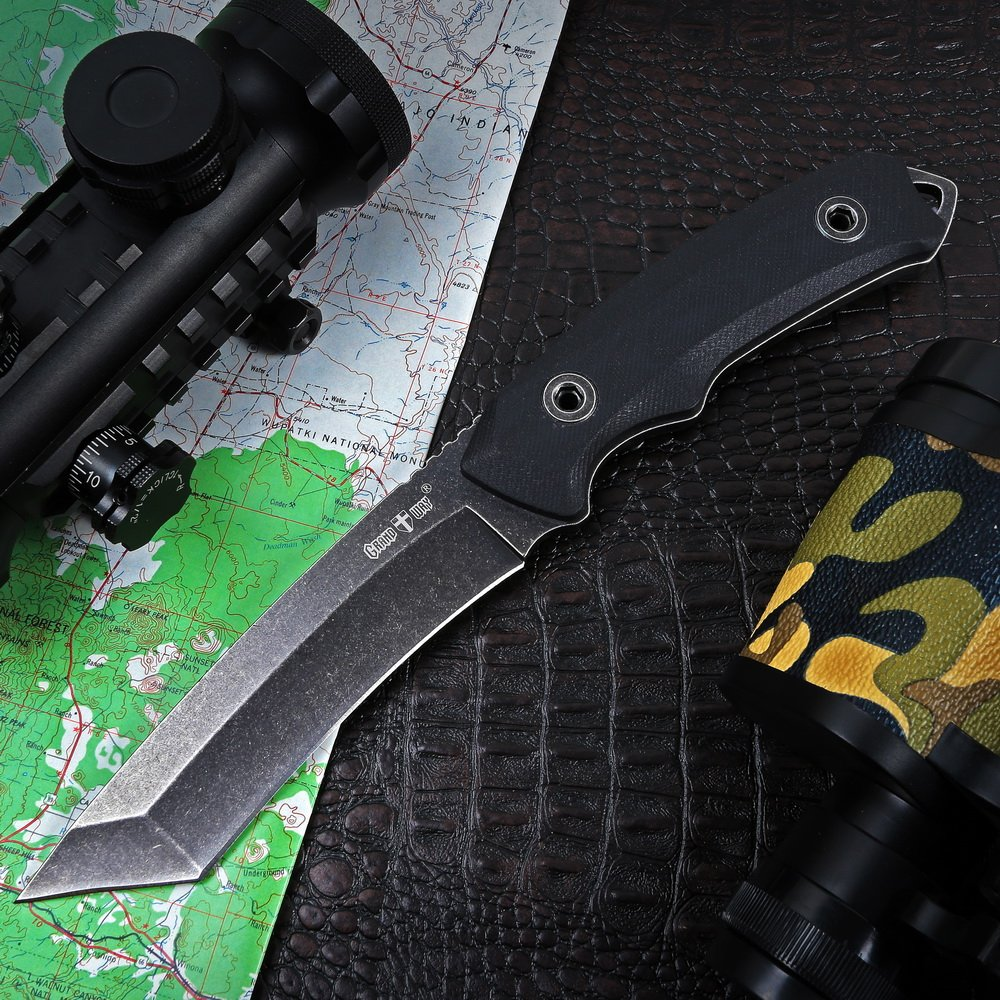 Grand Way Tanto Fixed Blade Knife - Stainless Steel Japanese Tanto Blade Knives - Black Tactical Military Survival Traditional Ninja Knife with Sheath 10535 by Grand Way (Image #1)