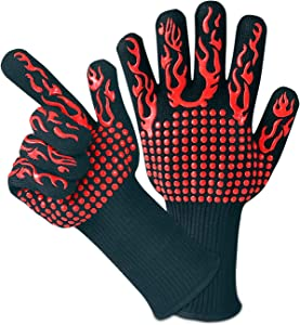 MILCEA Grilling Gloves Oven Mitten Grill Leather Gloves Heat Resistant Up to 1472 ℉ Universal Size Cooking Baking Frying Gloves Perfect for Christmas New Year BBQ Cooking Baking Party
