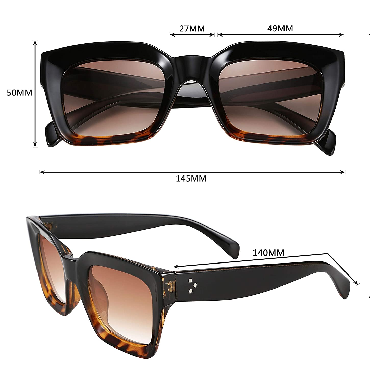 FEISEDY Occhiali da sole donna classici Oprah Style Cornice quadrata spessa UV400 B2471