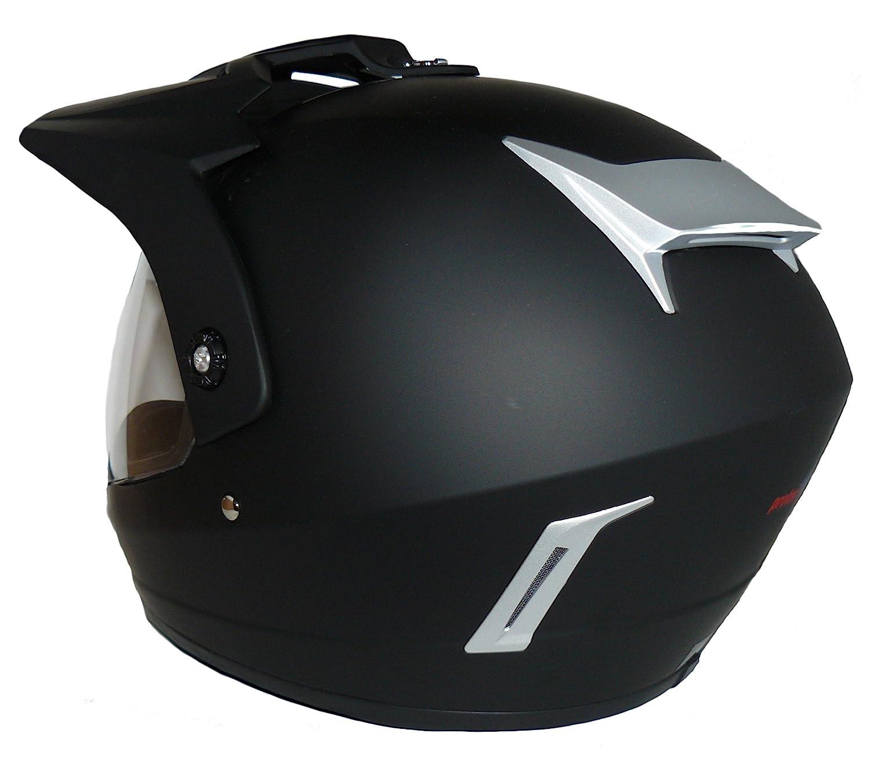 Gr/ö/ße M Motorradhelm Motocrosshelm Endurohelm matt-schwarz V370 mit klappbaren Visier