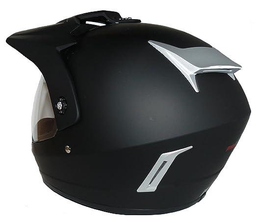 Motorradhelm Motocrosshelm Endurohelm matt-schwarz V370 mit klappbaren Visier Gr/ö/ße S