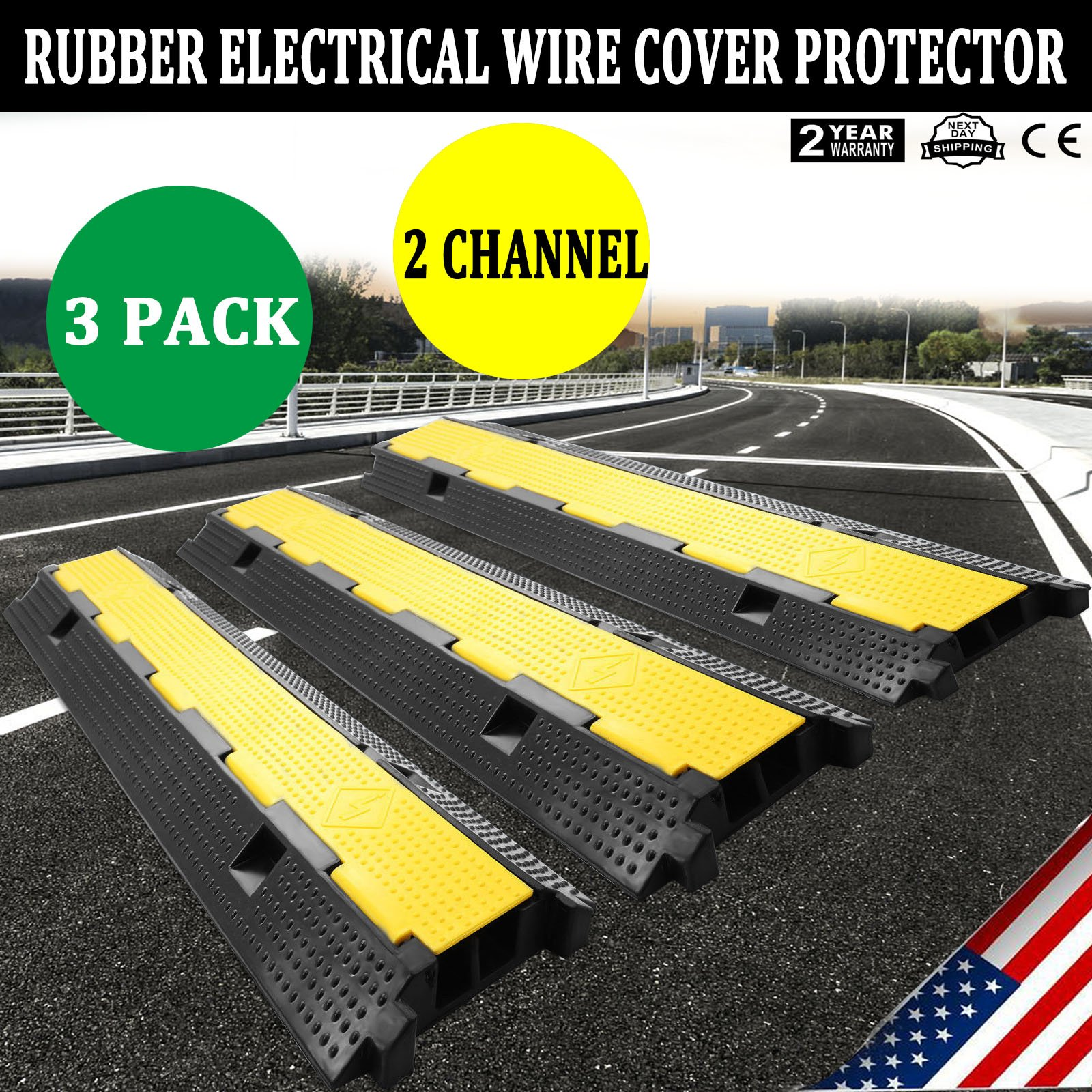 Zbond 3 Pack Extreme Rubber Cable Protectors Dual Channel Cable Protector 12000LB Rubber Speed Bump cable ramps / protectors (3 Pack) by Zbond