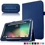 """Infiland Folio PU Cuero Funda Cascara Delgada con Soporte para 10,1 Pulgadas Dragon Touch A1X Quad Core Tablet PC,JYJ 10"""" Pulgadas Tablet PC, AcePad SuperPad XT2 10"""" Pulgadas Tablet PC, Tabexpress (10 Pulgadas) Tablet-PC, Polatab Elite Q10.1"""", iStyle 2014 New 10.1"""" Pulgadas(Consulte más modelos de tablet compatibles en la Descripción)(Azul Oscuro)"""
