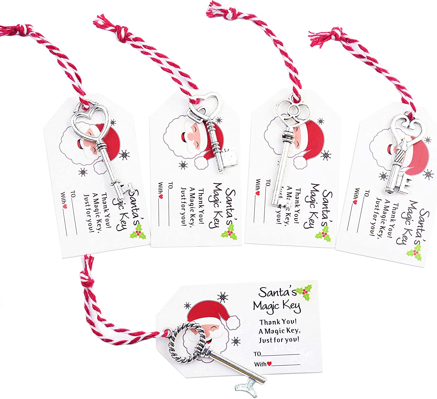 Makhry 50pcs Treasure Keys Pirate Keys with Christmas Thank You Tags Cards Soft Cord for Christmas Souvenir Hanging Ornament Tree Decor (Silver)